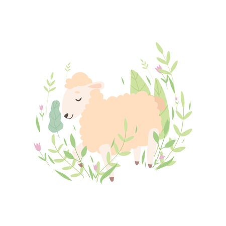 Cute Little Lamb Sleeping on Spring Meadow, Adorable Sheep Animal Vector Illustration on White Background.