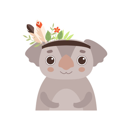 Cute Coala Bear Animal Wearing Headdress with Feathers, Leaves and Flowers Vector Illustration on White Background.