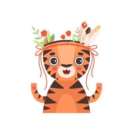 Cute Tiger Animal Wearing Headdress with Feathers, Leaves and Flowers Vector Illustration on White Background.
