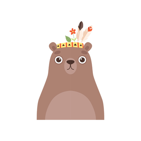 Cute Bear Animal Wearing Headdress with Feathers and Leaves Vector Illustration on White Background. Illustration