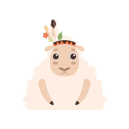 Cute Lamb Animal Wearing Indian Traditional Tribal Headdress with Feathers, Leaves and Flowers Vector Illustration on White Background.