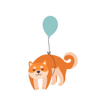 Shiba Inu Dog Flying with Balloon, Cute Funny Japan Pet Animal Cartoon Character Vector Illustration  イラスト・ベクター素材