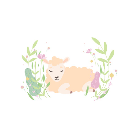 Cute Little Lamb, Adorable Sheep Animal Lying on Spring Meadow Vector Illustration on White Background.