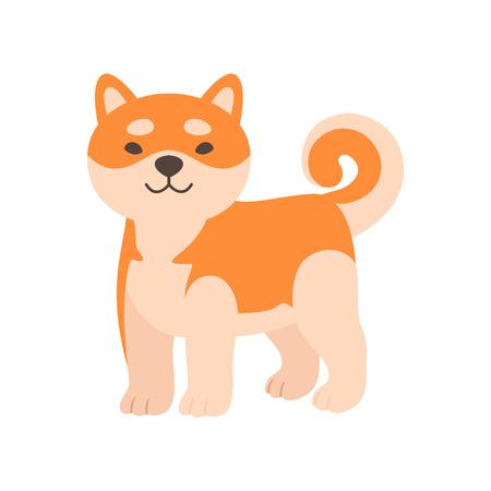 Cute Shiba Inu Dog, Adorable Funny Japan Pet Animal Cartoon Character Vector Illustration