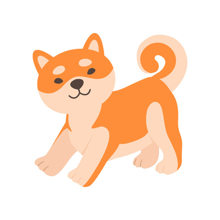 Cute Friendly Shiba Inu Dog, Funny Japan Pet Animal Cartoon Character Vector Illustration