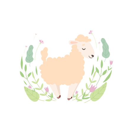 Adorable Little Lamb, Cute Sheep Animal Standing on Beautiful Spring Meadow Vector Illustration on White Background. Illustration