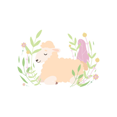 Adorable Little Lamb Lying and Sleeping on Beautiful Spring Meadow, Cute Sheep Animal Vector Illustration on White Background. Standard-Bild - 119135404