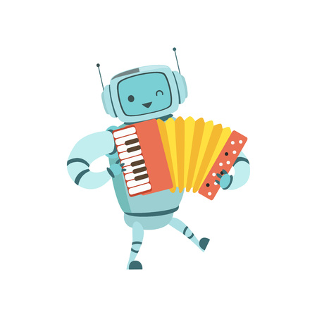 Cute Robot Musician Playing Accordion Musical Instrument Vector Illustration Standard-Bild - 119146659