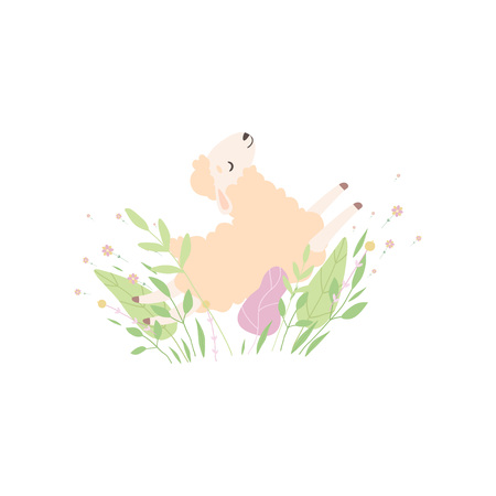Adorable Little Lamb, Cute Sheep Animal on Beautiful Spring Meadow Vector Illustration on White Background.