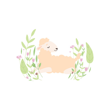 Adorable Little Lamb, Cute Sheep Animal Lying on Beautiful Spring Meadow Vector Illustration on White Background. Ilustracja