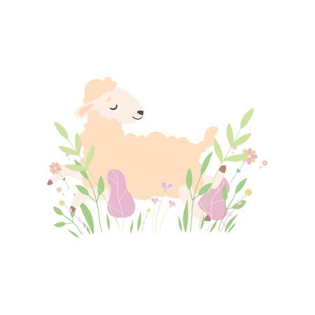 Mignon petit agneau allongé sur Spring Meadow, adorable mouton Animal Vector Illustration sur fond blanc.