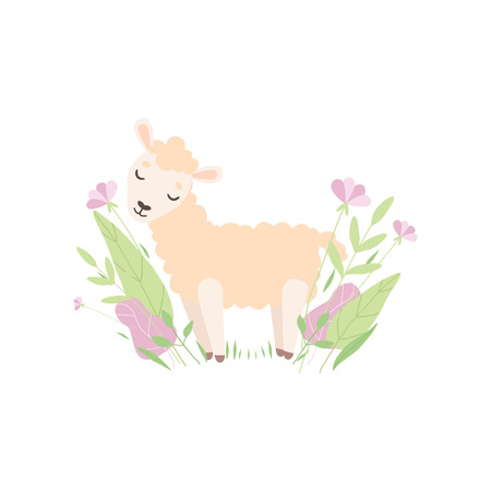 Cute Little Lamb, Adorable Sheep Animal Standing on Spring Meadow Vector Illustration on White Background.