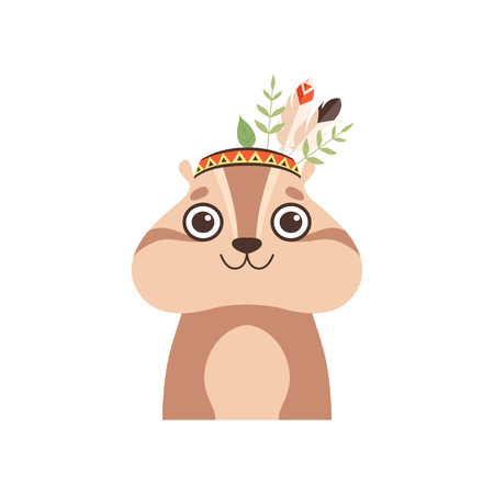 Cute Woodchuck Animal Wearing Headdress with Feathers and Leaves Vector Illustration on White Background.  イラスト・ベクター素材