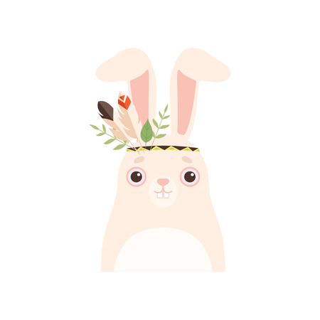 Cute Wnite Hare Animal Wearing Headdress with Feathers and Leaves Vector Illustration on White Background.
