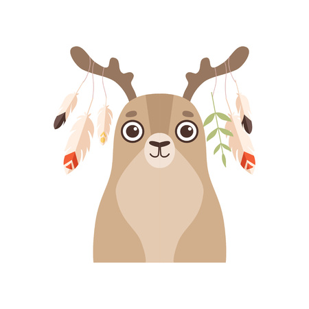 Cute Animal Wearing Headdress with Feathers Vector Illustration on White Background. Standard-Bild - 119135463