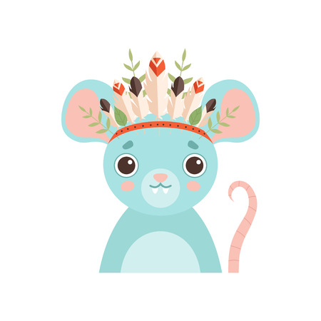 Cute Mouse Animal Wearing Headdress with Feathers, Leaves and Flowers Vector Illustration on White Background. Standard-Bild - 119135464
