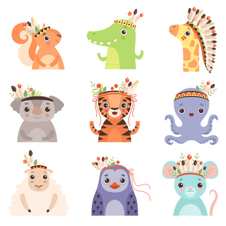 Cute Animals Wearing Headdress with Feathers, Leaves and Flowers Set, Penguin, Lamb, Octopus, Tiger, Koala Bear, Giraffe, Crocodile, Squirrel in Feathered Headgears Vector Illustration on White Background.
