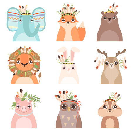 Cute Animals Wearing Headdress with Feathers, Leaves and Flowers Set, Elephant, Fox, Bear, Lion, Hare, Deer, PIg, Owl, Woodchuck in Feathered Headgears Vector Illustration on White Background.