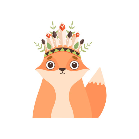 Cute Fox Animal Wearing Indian Traditional Tribal Headdress with Feathers and Plants Vector Illustration on White Background. Illustration