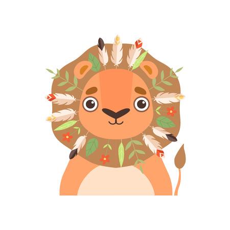 Animal lindo con tocado tribal tradicional con plumas, hojas y setas ilustración vectorial sobre fondo blanco.