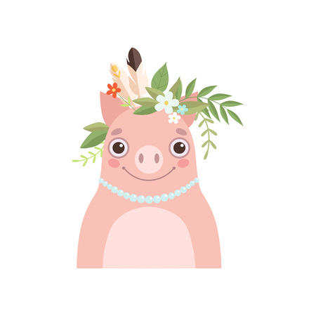 Cute Piglet Animal Wearing Headdress with Feathers and Leaves Vector Illustration on White Background. Vecteurs