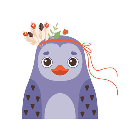 Cute Penguin Wearing Headdress with Feathers and Plants Vector Illustration on White Background. Illustration