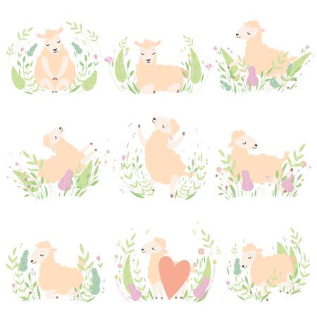 Mignon petit ensemble d'agneaux, adorables moutons animaux sur Spring Meadow Vector Illustration Vecteurs