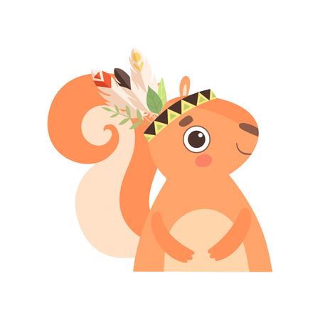 Cute Squirrel Animal Wearing Indian Traditional Tribal Headdress with Feathers Vector Illustration