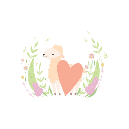 Cute Little Lamb with Red Heart, Adorable Sheep Animal on Spring Meadow Vector Illustration Standard-Bild - 119146665