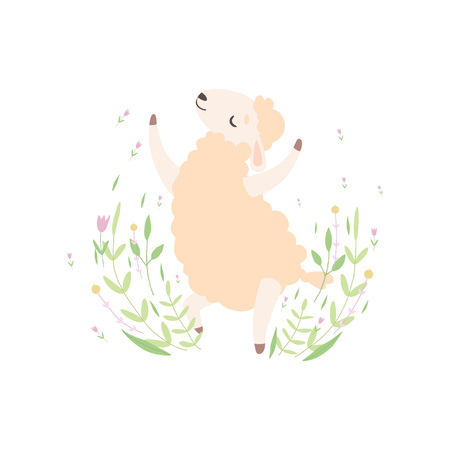 Cute Little Lamb Jumping Happily, Adorable Sheep Animal on Spring Meadow Vector Illustration Ilustracja