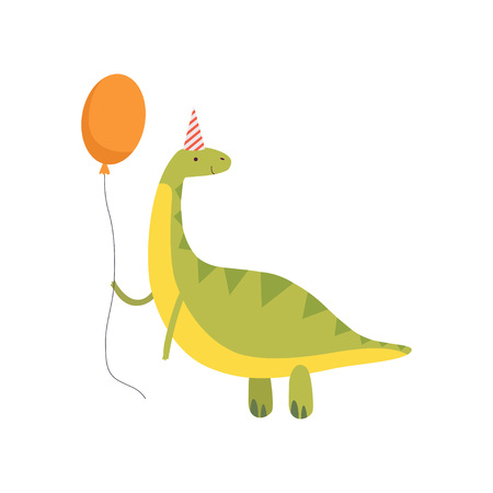 Cute Dinosaur in Party Hat with Red Balloon, Funny Green Dino Character, Happy Birthday Party Design Element Vector Illustration Иллюстрация