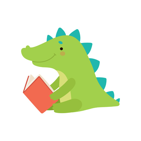 Cute crocodile Reading Book, Adorable Smart Animal Character Sitting with Book Vector Illustration 向量圖像