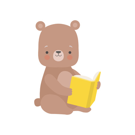 Cute Bear Reading Book, Adorable Smart Animal Character Sitting with Book Vector Illustration