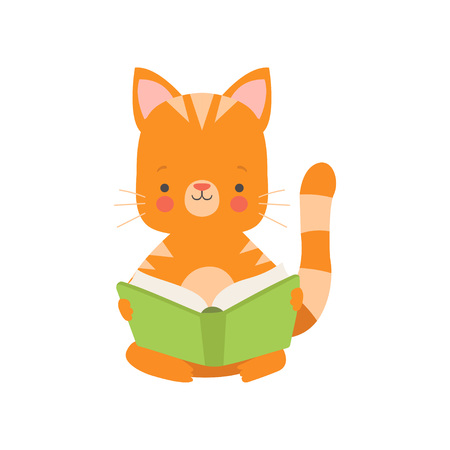 Cute Red Cat Reading Book, Adorable Smart Pet Animal Character Sitting with Book Vector Illustration
