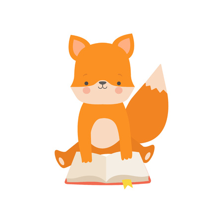 Cute Fox Reading Book, Adorable Smart Animal Character Sitting with Book Vector Illustration