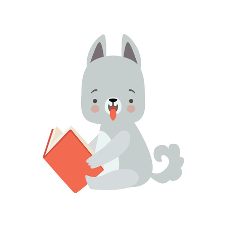 Cute Wolf Cub Reading Book, Adorable Smart Animal Character Sitting with Book Vector Illustration Çizim
