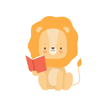 Cute Lion Reading Book, Adorable Smart Animal Character Sitting with Book Vector Illustration 向量圖像