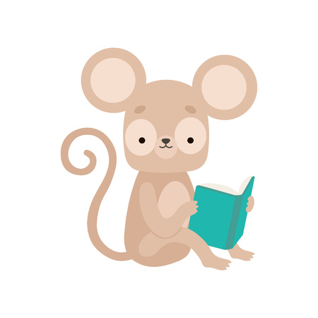 Cute Marmoset Reading Book, Adorable Smart Animal Character Sitting with Book Vector Illustration