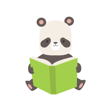 Cute Panda Bear Reading Book, Adorable Smart Animal Character Sitting with Book Vector Illustration Standard-Bild - 119237027