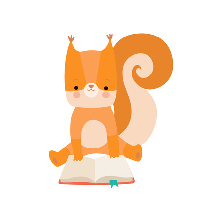 Cute Squirrel Reading Book, Adorable Smart Animal Character Sitting with Book Vector Illustration 向量圖像