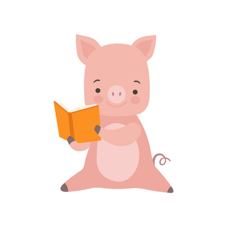 Cute Piglet Reading Book, Adorable Smart Animal Character Sitting with Book Vector Illustration Standard-Bild - 119237029