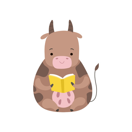 Cute Cow Reading Book, Adorable Smart Animal Character Sitting with Book Vector Illustration