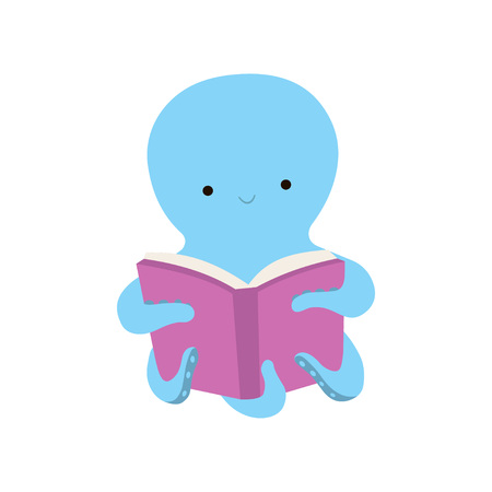 Cute Octopus Reading Book, Adorable Smart Sea Creature Character Sitting with Book Vector Illustration