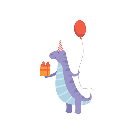 Cute Dinosaur in Party Hat with Gift Box and Balloon, Funny Blue Dino Character, Happy Birthday Party Design Element Vector Illustration