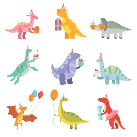 Colección de dinosaurios lindos en sombreros de fiesta con cajas de regalo, personajes divertidos de Dino azul, elementos de diseño de fiesta de cumpleaños feliz ilustración vectorial