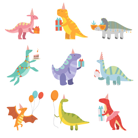 Collection of Cute Dinosaurs in Party Hats with Gift Boxes, Funny Blue Dino Characters, Happy Birthday Party Design Elements Vector Illustration Vettoriali