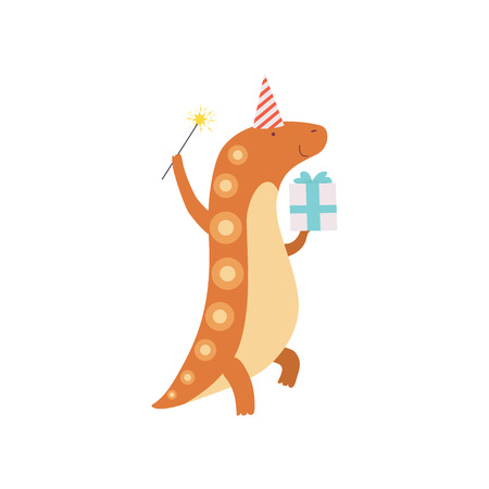 Cute Dinosaur in Party Hat with Magic Wand and Gift Box, Funny Colorful Dino Character, Happy Birthday Party Design Element Vector Illustration
