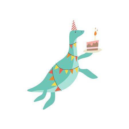 Dinosaure mignon en chapeau de fête avec gâteau d'anniversaire, personnage Dino coloré drôle, joyeux anniversaire Party Design Element Vector Illustration