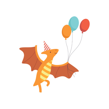 Cute Pteranodon Dinosaur in Party Hat Flying ith Balloons, Funny Colorful Dino Character, Happy Birthday Party Design Element Vector Illustration Standard-Bild - 119237044