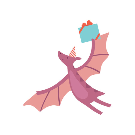 Cute Dinosaur in Party Hat, Funny Colorful Pteranodon Dino Character Flying with Gift Box, Happy Birthday Party Design Element Vector Illustration